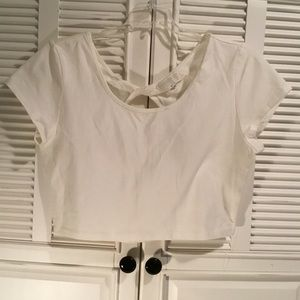 Forever 21 twisted knot and peekaboo back crop top